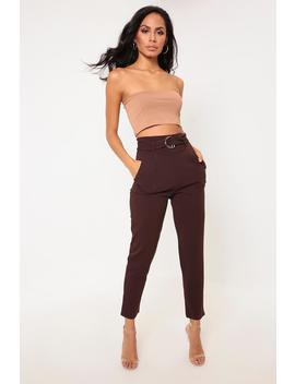 Brown D Ring Belted High Waist Trousers by I Saw It First