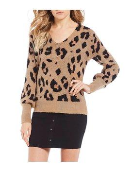 Leopard Print Blouson Long Sleeve Sweater by Gb