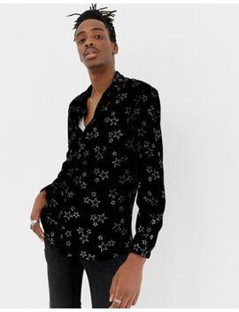 Jaded London Long Sleeve Velvet Shirt In Black With Glitter Stars by Jaded London