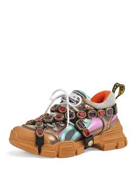 Flashtrek Metallic Leather Hiker Sneaker With Chain Strap by Gucci