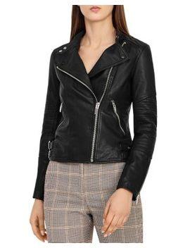 Tay Leather Biker Jacket by Reiss