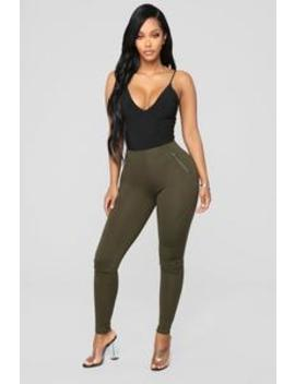 Jossie Stretch Moto Pants   Olive by Fashion Nova