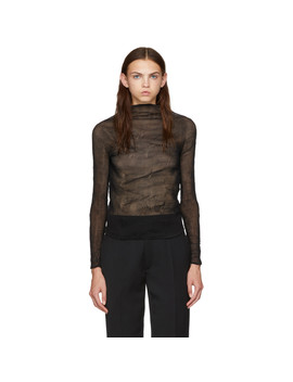 Black Chiffon Twist Long Sleeve Pleated Blouse by Issey Miyake