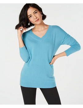 Pure Cashmere Oversized V Neck  In Sweater In Regular & Petite Sizes, Created For Macy's by Charter Club