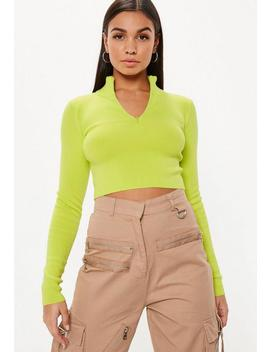 Lime High Neck Zip Cropped Top by Missguided