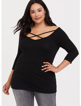 Super Soft Black Strappy Off Shoulder Tee by Torrid
