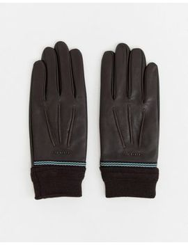 Ted Baker Gloves In Leather & Ribbed Cuff by Ted Baker