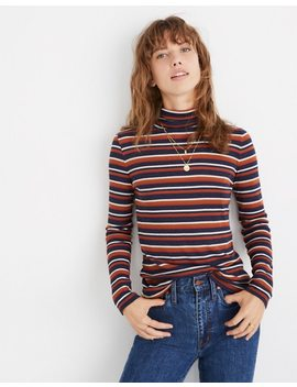 Fine Ribbed Turtleneck Top In Brendan Stripe by Madewell