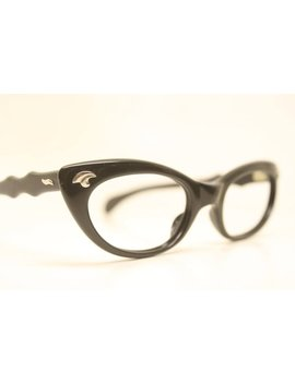Cat Eye Glasses Black Vintage 1950s Eyewear Vintage Cateye Frames by Etsy