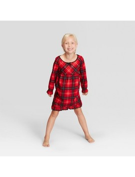 Kid's Plaid Holiday Notch Collar Pajama Nightgown   Wondershop™ Red by Shop This Collection