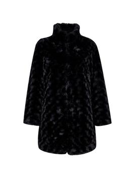 Petite Black Faux Fur Swirl Coat by Dorothy Perkins