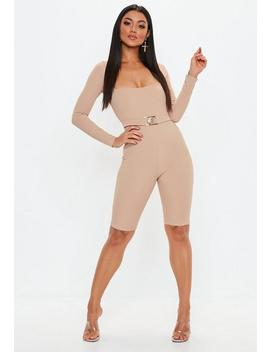 Nude Ribbed Clasp Detail Unitard by Missguided