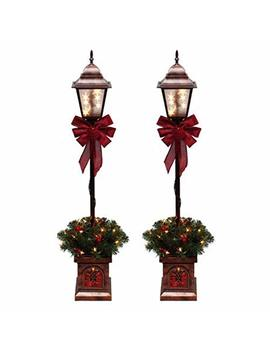 Christmas Lamp Post Tree Pre Lit With 35 Clear Lights, 4 Ft, Outdoor Yard Decor, Set Of 2 + Free Santa Decor by Pre Lit 4' Christmas Lamp Post