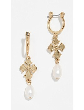 Nouveau Cross & Cultured Pearl Earrings by Luv Aj