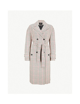 Gessia Checked Woven Trench Coat by Maje