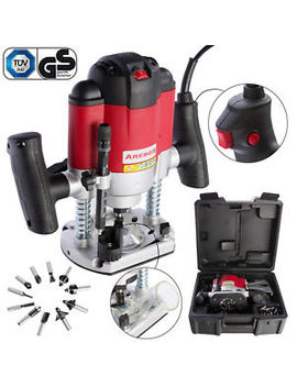 Arebos 1200 W Plunge Router Kit Set Incl.12 Router Bits Heads + Carry Case by Ebay Seller