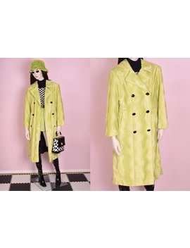 90s Lime Fuzzy Wavy Pattern Coat/ Us 8/ 1990s/ Jacket/ Double Breasted by Etsy