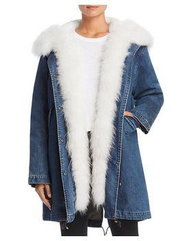 Fur Trim Denim Down Parka   100 Percents Exclusive by Maximilian Furs