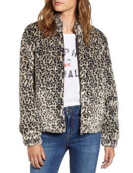 Leopard Print Faux Fur Bomber Jacket by Vigoss