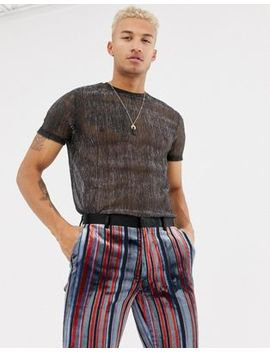Asos Design   T Shirt Lunga In Tessuto Trasparente Metallizzato Argento by Asos