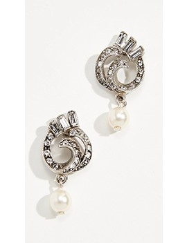 Swirl Imitation Pearl Drop Post Earrings by Ben Amun
