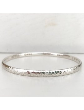 Sterling Silver Personalised Bangle Hammered Finish by Etsy