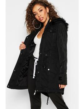 Faux Leather Sleeve Faux Fur Trim Parka by Boohoo