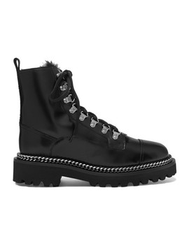 Chain Embellished Shearling Lined Leather Ankle Boots by Balmain