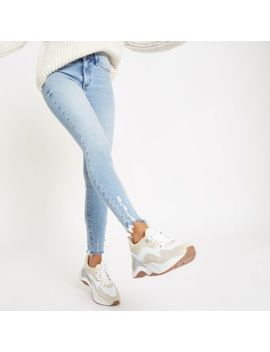Petite – Molly – Jeggings Mit Fransensaum by River Island