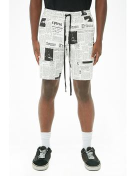 Elwood Twill Newspaper Print Shorts by Forever 21