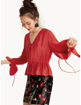 Drawstring Waist Flounce Crop Top   Red by Pomelo