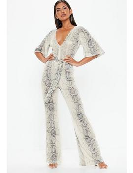 Grey Snake Print Kimono Style Sleeve Jumpsuit by Missguided