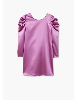 puffed-shoulder-satin-dress by mango