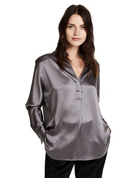 Collar Band Silk Blouse by Vince