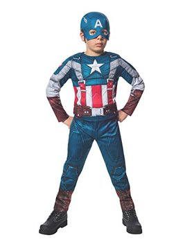 Rubies Marvel Comics Collection: Captain America: The Winter Soldier Fiber Filled Retro Suit Captain America Costume, Child Large by Rubie's
