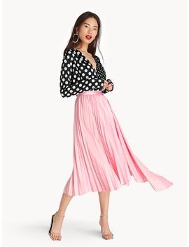 Midi Asymmetric Pleated Skirt   Pink by Pomelo