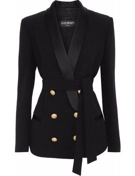 Double Breasted Belted Satin Trimmed Crepe Blazer by Balmain