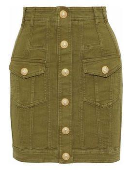 Button Detailed Stretch Denim Mini Skirt by Balmain