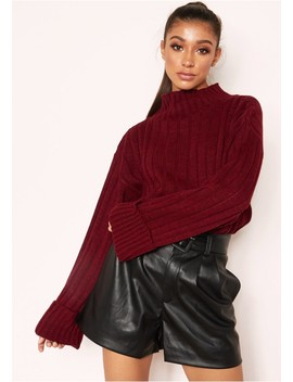Arlene Wine Knit High Neck Jumper by Missy Empire