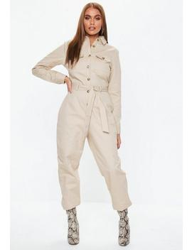 Sand Belted Utility Jumpsuit by Missguided