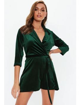 Green Velvet Blazer Playsuit by Missguided