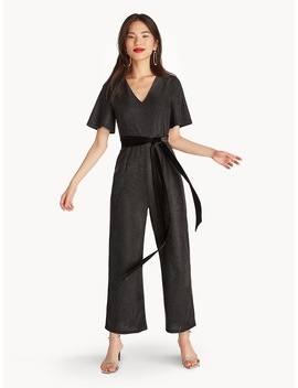 Shimmer Waist Tie Jumpsuit by Pomelo