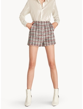 Tweed Side Embellished Shorts by Pomelo