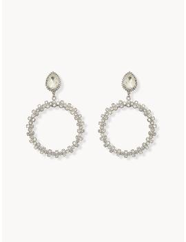 Diamante Circular Drop Earrings by Pomelo