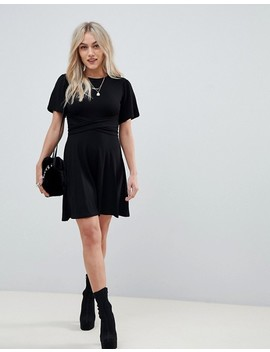Asos Design Petite Flutter Sleeve Wrap Waist Tea Dress by Asos Design