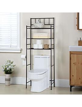 "Finnhomy 3 Shelf Bathroom Space Saver Over The Toilet Rack Bathroom Corner Stand Storage Organizer Accessories Bathroom Cabinet Tower Shelf With Orb Finish 23.5"" W X 10.5"" D X 64.5"" H by Finnhomy"