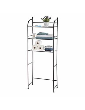Home Zone Bathroom Storage Shelf With 3 Tiers And Shelving Liners | Restroom Over The Toilet Space Saver With Bronze Shadow Finish (Modern Style) by Home Zone