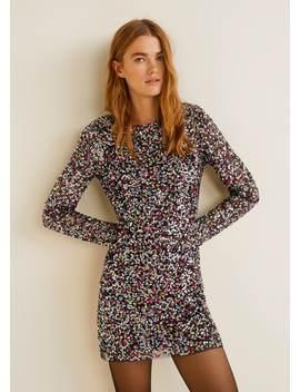 Scoop Back Sequin Dress by Mango