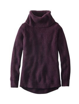 Waffle Stitch Sweater, Cowlneck Pullover by L.L.Bean