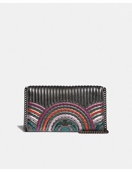 Callie Foldover Chain Clutch With Colorblock Deco Quilting And Rivets by Coach